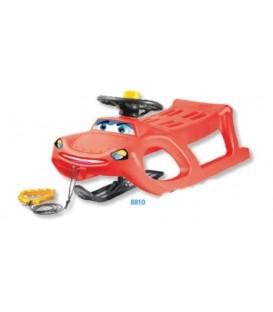 Slittino neve CAR con guide metalliche e sci direzionabile tipo JEEP Misura: 52x89 Colori: Rosso
